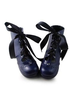 Dark blue satin matte PU lace lace restoring ancient ways Lolita Shoes
