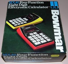 Vintage Bowmar Electronic Pocket Calculator, Model MX-40, (aka 91802), Red LED Display, Sealed Battery, Made In USA, Circa 1973.