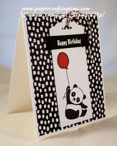 party animal by - at Splitcoaststampers - (SU: Panda SAB) (Pin Animals: Wild-Other: Chinese. Pin+: Tags (made with). Bday Cards, Kids Birthday Cards, Stampin Up Karten, Stampin Up Cards, Panda Party, Baby Kind, Scrapbooking, Animal Party, Paper Cards
