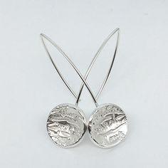 "Ohrring earring ""Die gewölbte Schrift"", Metal Clay, Art Clay Silver Art Metal Clay, Earring Trends, Clay Earrings, Silver Jewelry, Handmade Jewelry, Clay Art, Diamond, Jewellery, Ring"