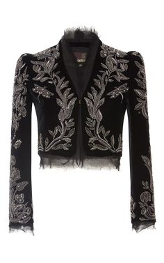 Embroidered Cropped Jacket by Roberto Cavalli Kpop Fashion Outfits, Fashion Mode, Stage Outfits, Fashion Dresses, Womens Fashion, Fashion Trends, Fashion Details, Love Fashion, Fashion Design