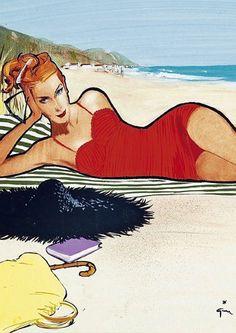 Beach.  #Rene #Gruau