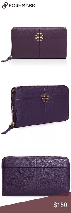 """Tory Burch Black Ivy Zip Continental Wallet Guaranteed 100% authentic & in excellent brand new condition w/ original tags  MSRP: $225.00 + TAX 🚫TRADE    Exterior - Pebbled leather body - Color: Nightshade  - Gold tone hardware - Zip around closure - 1 zipper pocket - Raised designer emblem  Interior - Leather and fabric lining - 2 bill sleeves, 2 slip pockets, 8 card slots, 1 zipper compartment - Debossed designer lettering  Approx: 7.9""""L x 4.3""""H x 1.2""""D Tory Burch Bags Wallets"""