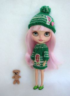 Nice dress and hat for blythe custom doll by GarlenaShop on Etsy