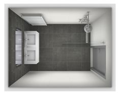 Ontwerp voor een kleine badkamer, afmetingen 2 x 2 meter. meer voorbeelden op http://www.kleinebadkamers.nl