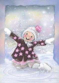 Kaarina u Christmas Time Is Here, Christmas Greetings, Winter Christmas, Christmas Crafts, Winter Illustration, Christmas Illustration, Vintage Christmas Cards, Vintage Cards, Candy Art