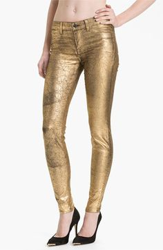 J Brand Metallic Stretch Denim Leggings available at #Nordstrom