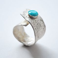 Reticulation sterling silver & turquoise ring