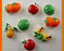 2 Hole Slider Beads QTY 8 Handpainted Enamel Fruits & Vegetables APPLE TOMATO