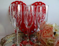 Vintage Champagne Flutes With Etched Hearts Set of 6 by TimelessTreasuresbyM on Etsy