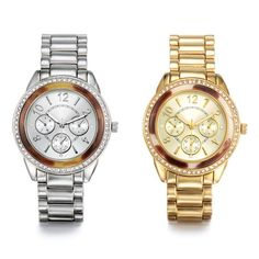 Ladies watch with a major mix of tortoiseshell and rhinestones. Face features 3 faux chronographs (non-working). Watch is offered in your choice of silvertone or goldtone. Regularly $49.99, buy Avon Jewelry online at http://eseagren.avonrepresentative.com