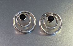 Sterling Onyx Stud Earrings Stamped ND Concentric Rings
