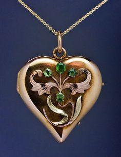 Art Nouveau Heart Locket Pendant Antique Russian | eBay