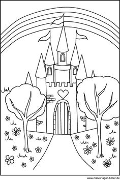 Malvorlagen Schönen Schloss und Palast komplett ummauerte