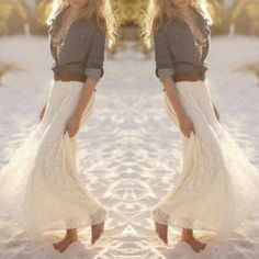 White lace detailed maxi skirt .Lace decorated. white color. Elastic band on the waist, can be stretched from 22 to 36 inches, length around 42 inches for size S. And waist 23 to 37 inches and length: 42 inches for size M. And waist 24 to 38 and length 42 inches for size L. A hint of see through, better to wear light color underwear. NWOT Skirts Maxi