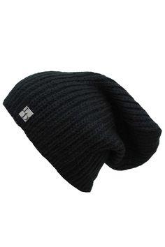 Black Mohair Slouch Knit Beanie Cap Hat