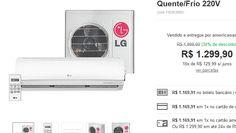 Ar condicionado Split LG Hi Wall Smile 12.000 BTUs Quente/Frio 220V << R$ 116991 >>