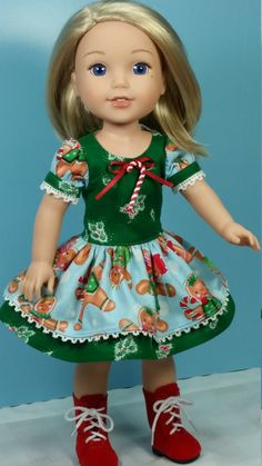 Wellie Wisher Holiday Fancy Christmas Dress, American Made to Fit 14 1/2 Inch Girl Dolls