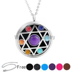 Free Chains! New Arrivals Five-pointed Star 38mm Chakra Lockets Aromatherapy Stainless Steel Essential Oils Diffuser Locket