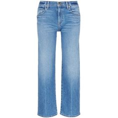 Khaite 'Wendall' cropped jeans ($340) ❤ liked on Polyvore featuring jeans, blue, cropped jeans, blue jeans, structure jeans and straight leg jeans