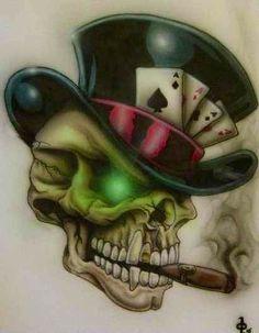 Airbrushed smoking skull.