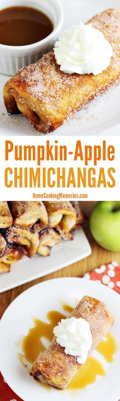 These Pumpkin-Apple Chimichangas are awesome! Easy fall dessert with cream cheese, apple pie filling, pumpkin & spices inside of a crispy flour tortilla, which is then rolled in cinnamon sugar. Top with whipped cream, vanilla ice cream or caramel sauce -- or all of the above!