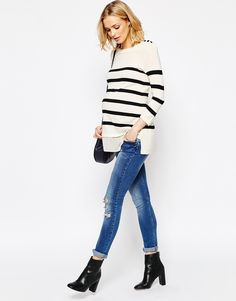 Image 4 of ASOS Maternity Breton Stripe Jumper with Button Trim