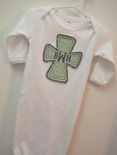 Monogrammed raggy cross layette Baptism/Easter