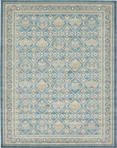 Country Traditional 10 feet by 13 feet (10' x 13') Salzburg Light Blue Area Rug