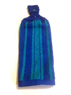 Royal Blue And Turquoise Striped Hand Towel by MeAndMomsCrafts