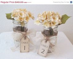 On Sale Set of 4 Rustic Wedding Table Number Centerpieces  / Rustic Candle Holder / Mason Jar Wedding Centerpieces / Ball Jar Vase