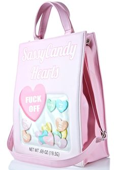 Sugarbaby Sassycandy Hearts Bag Kawaii Bags, Window Shopper, Vanessa Mooney, Pink Candy, Accessories Shop, Vegan Leather, Diaper Bag, Purses And Bags, Gym Bag