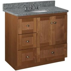Simplicity by Strasser Shaker 36 in. W x 21 in D x 34-1/2in H Vanity Cabinet Only with Left Drawers in Medium Alder-01.318.2 - The Home Depot