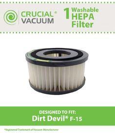 #vacuums Washable & Reusable #Dirt #Devil F15 HEPA filter 1-SS0150-000, 3-SS0150-001 (3SS0150001). Replaces Dirt Devil part #3DJ0360000. Fits Dirt Devil Vibe Quic...