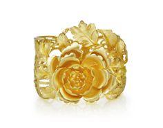 Poh Heng Classic & Customary (四点金) Gold Jewellery - 24K gold cuff with pretty Peony motif