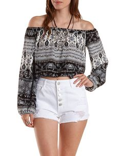 Off-the-Shoulder Paisley Print Top by Charlotte Russe - Black Combo