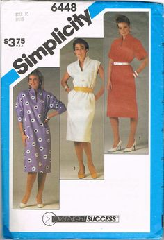 1980s Dress Pattern Size 10 Bust 32.5 Inches by NeesysOtherLife