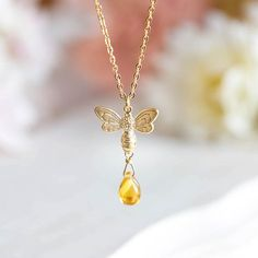 Bee Necklace Honey Bee Jewelry Bee Lover Gift Bee Keeper Gift Summer Necklace Summer Jewelry Gift for Her Gift for Mom Topaz Amber by LeChaim Dainty Diamond Necklace, Bee Necklace, Summer Necklace, Summer Jewelry, Initial Necklace, Diamond Jewelry, Gold Gold, Matte Gold, Cute Earrings