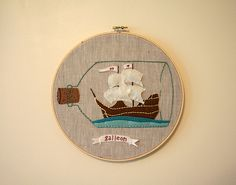 ship in a bottle embroidery