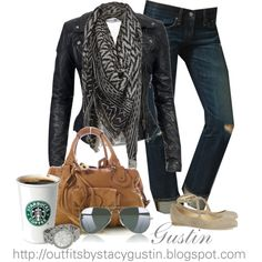 scarf and leather, created by stacy-gustin on Polyvore