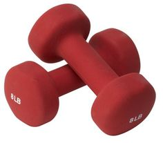 Valeo 8-Pound Neoprene Hand Weight Dumbbells For Fitness Training And Gym Workouts, Dumbbell Set Includes Exercise Wall Chart