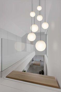 Staircase Lighting Ideas, Modern Staircase, Home Lighting, High Ceiling Lighting, Ceiling Lights, Dining Room Lighting, Interior Lighting, Kitchen Lighting, Outdoor Lighting