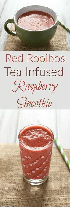 A refreshing, tart rooibos tea infused raspberry smoothie to kick off tea infused smoothie week at Mid-Life Croissant.