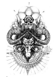 Amazing Goat Head With Skull Tattoo Design