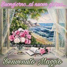 Buongiorno... al nuovo giorno... Benvenuto Maggio #maggio Good Morning Good Night, Madonna, Flowers, Painting, Disney, Link, Messages, Photos, Spring