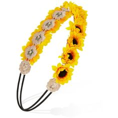 Forever 21 Flower Crown Headband ($6.90) ❤ liked on Polyvore featuring accessories, hair accessories, floral garland, embellished headbands, flower garland, flower crown and sunflower headband
