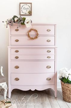 Stunning blush pink dresser makeover by salvaged inspirations. Pink Furniture, Painted Bedroom Furniture, Refurbished Furniture, Colorful Furniture, Repurposed Furniture, Shabby Chic Furniture, Furniture Ideas, Furniture Movers, Cheap Furniture