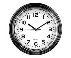Horloge murale FIDJI chrome, noir et blanc - Ø30