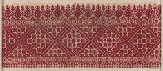 A band of embroidery, probably from a pillow cover, worked with pinkish red silk on unbleached cotton; the design is geometric being composed of diamonds, stars, etc. The stitch used is a short straight stitch.