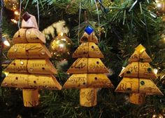 Wine Cork Christmas Ornaments Homemade | Wine Cork Christmas Tree Ornament Trio - Large, Medium, and Small by nancy